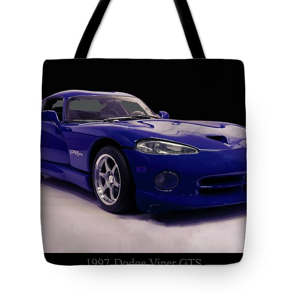 Tote Bag featuring the digital art 1997 Dodge Viper Gts Blue by Chris Flees