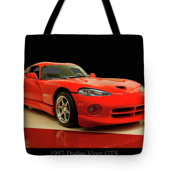 Tote Bag featuring the digital art 1997 Dodge Viper Gts Red by Chris Flees