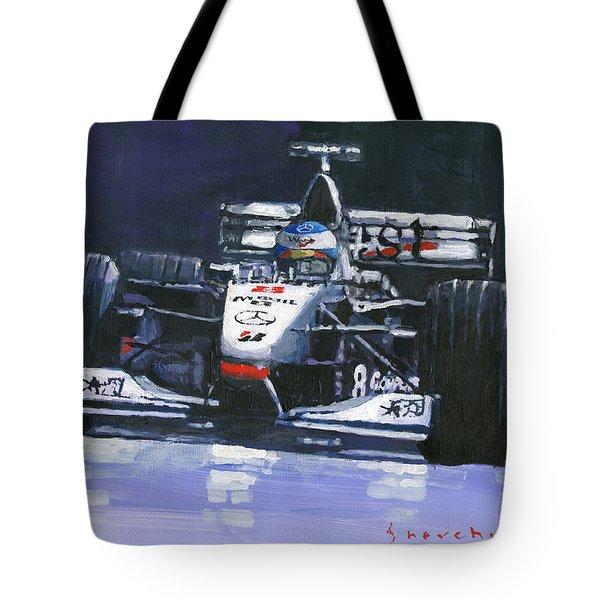 1998 Mika Hakkinen World Champion Formula One  Mclaren Mp4-13 Tote Bag
