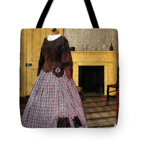 19th Century Plaid Dress Tote Bag by Susan Savad