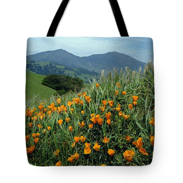 1a6493 Mt. Diablo And Poppies Tote Bag