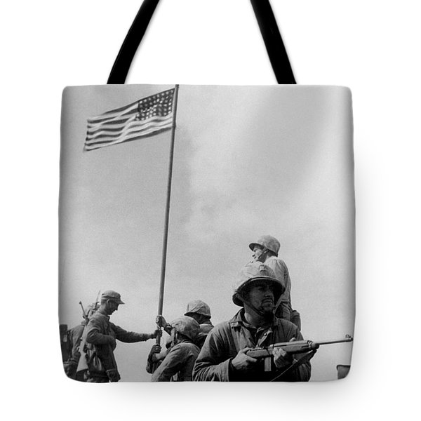 1st Flag Raising On Iwo Jima  Tote Bag by War Is Hell Store