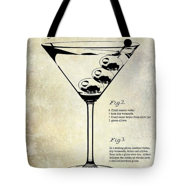 1897 Dirty Martini Patent Tote Bag by Jon Neidert