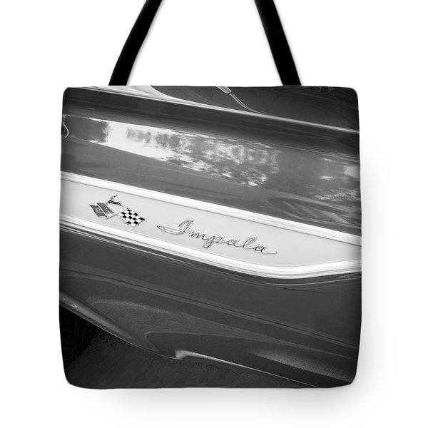 Tote Bag featuring the photograph 1961 Chevrolet Impala Ss Bw by Rich Franco