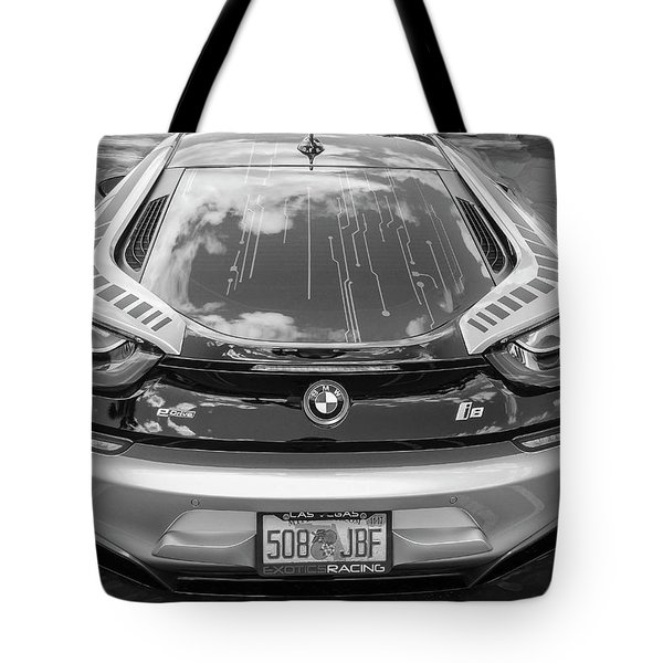 Tote Bag featuring the photograph 2015 Bmw I8 Hybrid Sports Car Bw by Rich Franco