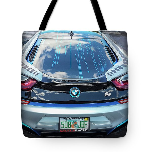Tote Bag featuring the photograph 2015 Bmw I8 Hybrid Sports Car by Rich Franco