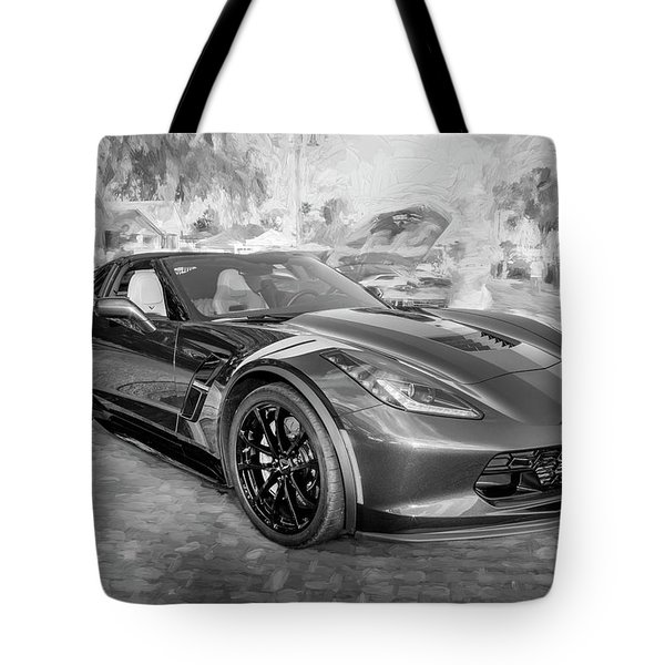 Tote Bag featuring the photograph 2017 Chevrolet Corvette Gran Sport Bw by Rich Franco