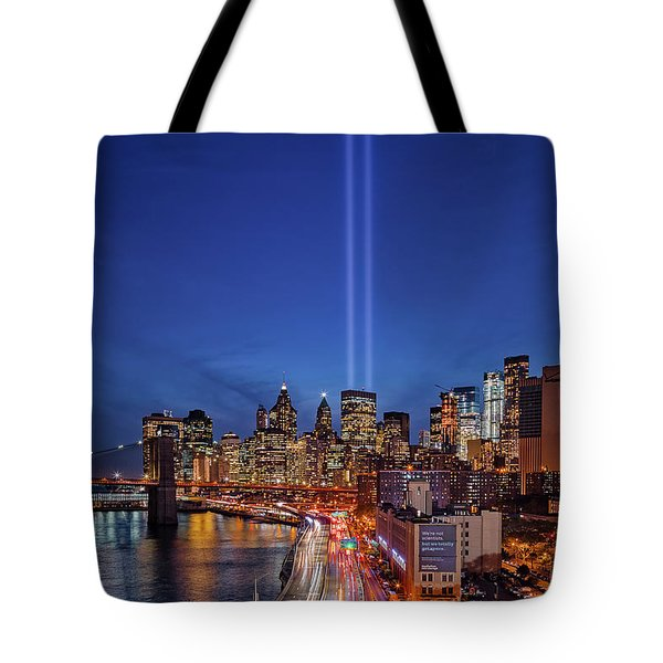Tote Bag featuring the photograph 911 Tribute In Light In Nyc by Susan Candelario