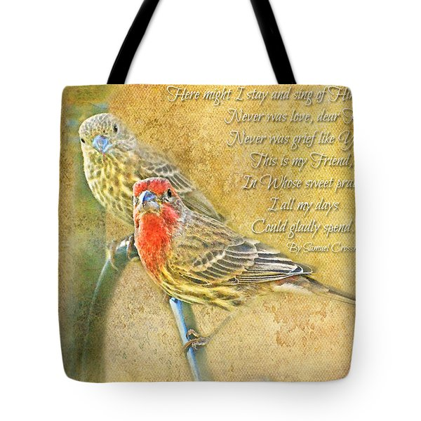 A Pair Of Housefinches With Verse Part 2 - Digital Paint Tote Bag