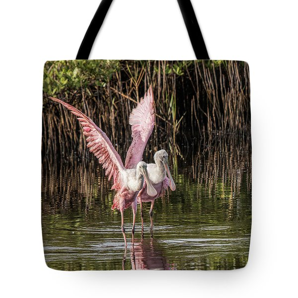 A Pair Of Spoonbills Tote Bag