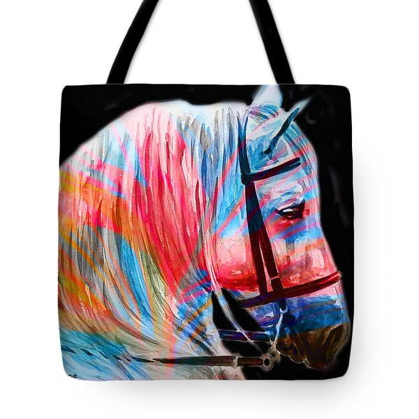Tote Bag featuring the painting Abstract White Horse 19 by J- J- Espinoza