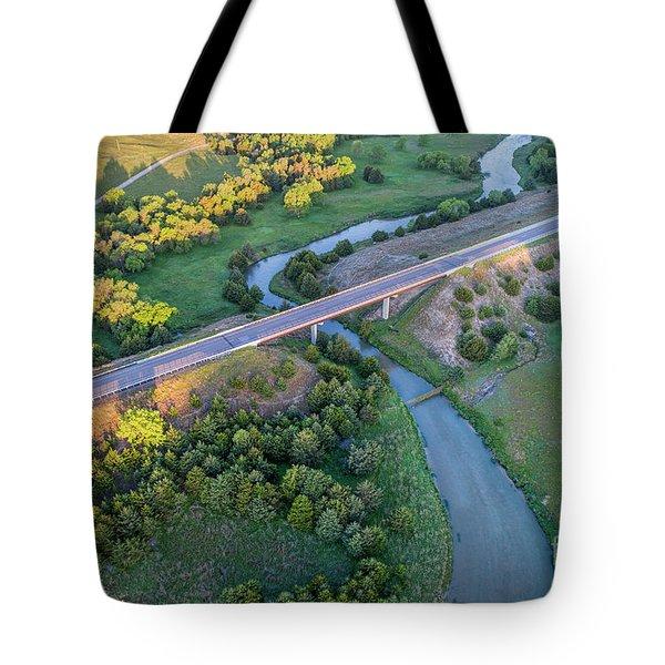 aerial view of Dismal River in Nebraska Tote Bag