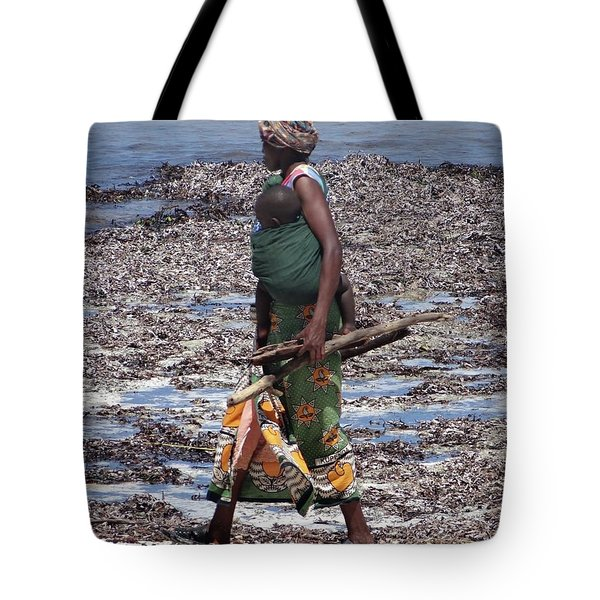 African Woman Collecting Shells 1 Tote Bag