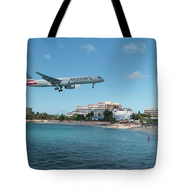 American Airlines Landing At St. Maarten Tote Bag