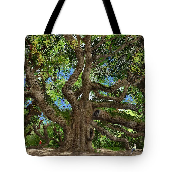 Tote Bag featuring the drawing Angel Oak by Jim Hubbard
