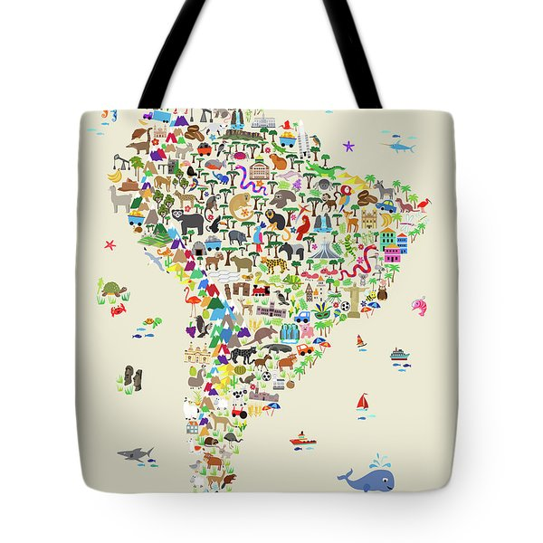 Animal Map Of South America For Children And Kids Tote Bag