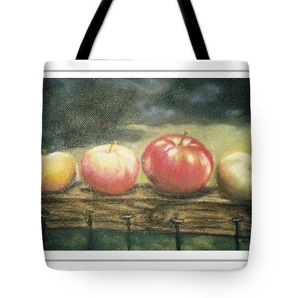 Apples On A Rail Tote Bag