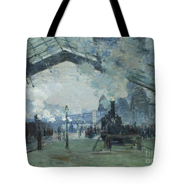 Arrival Of The Normandy Train Gare Saint-lazare Tote Bag by Claude Monet