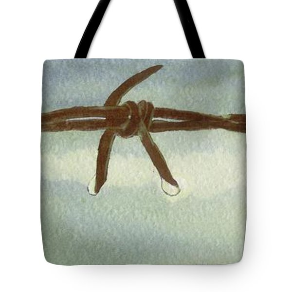 Tote Bag featuring the painting Auschwitz by Annemeet Hasidi- van der Leij