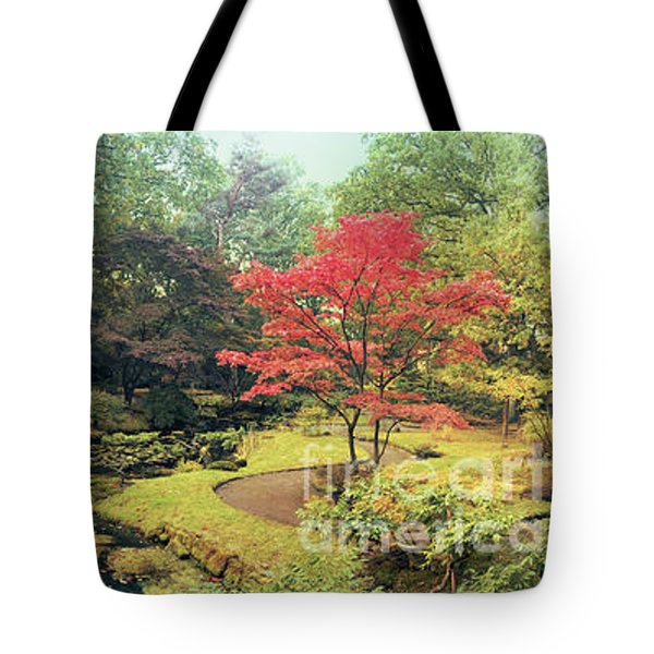 Tote Bag featuring the photograph autumn  in Japanese park by Ariadna De Raadt