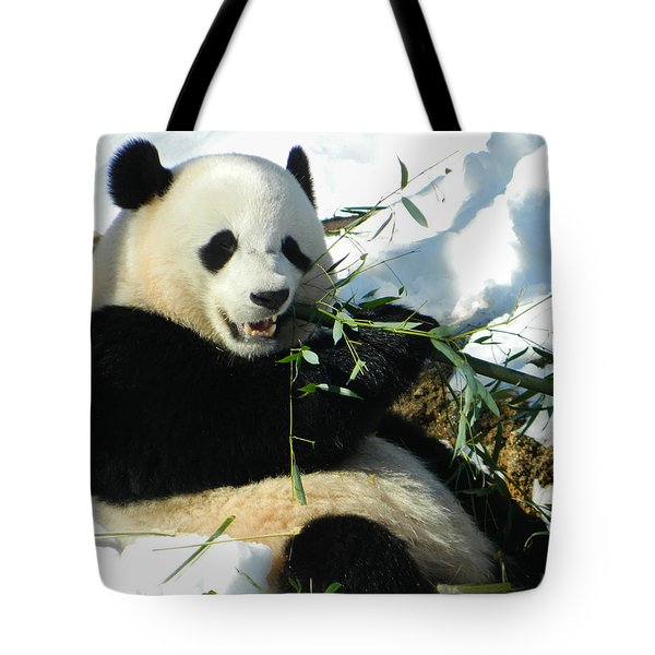 Bao Bao Sittin' In The Snow Taking A Bite Out Of Bamboo1 Tote Bag