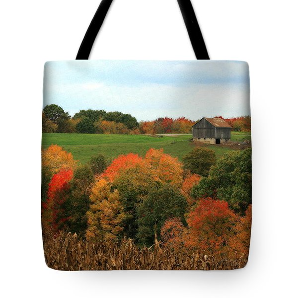Tote Bag featuring the photograph Barn On Autumn Hillside by Angela Rath