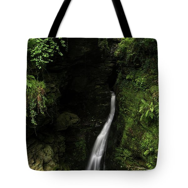 Beautiful Flowing Waterfall With Magical Fairytale Feel In Lush  Tote Bag