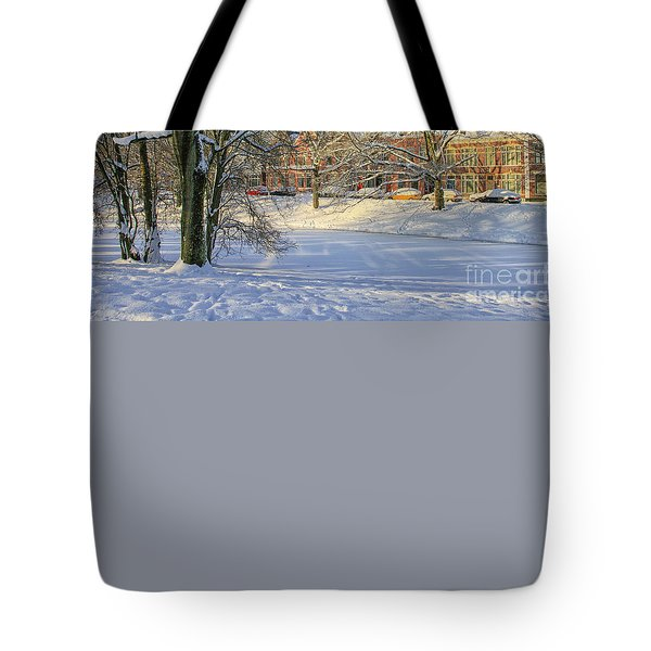 Beautiful Park In Winter With Snow Tote Bag