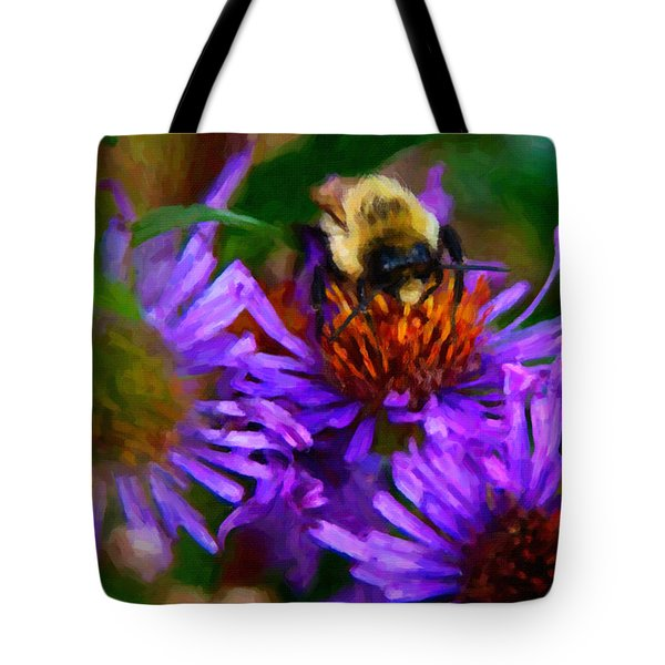 Bee On Purple Flower Tote Bag by Andre Faubert