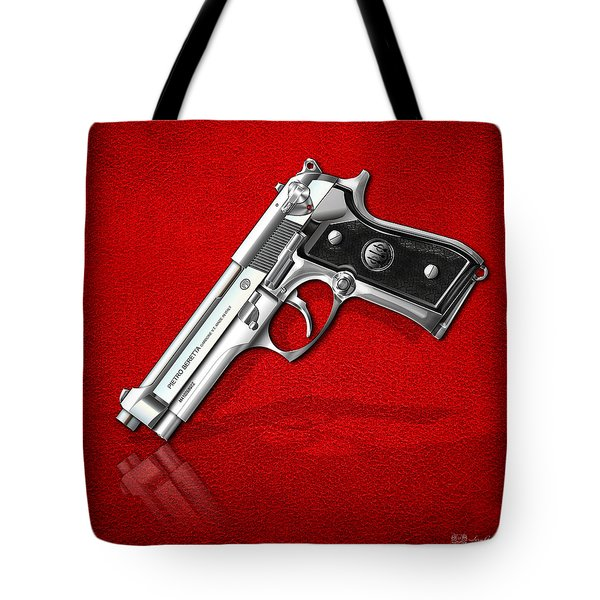 Beretta 92fs Inox Over Red Leather  Tote Bag