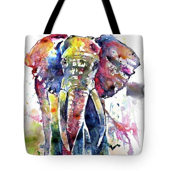 Big Colorful Elephant Tote Bag