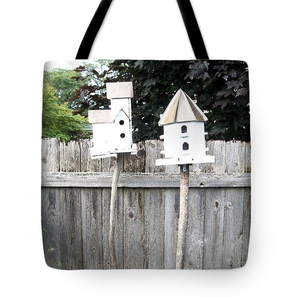 2 Bird Houses And A Fence Tote Bag