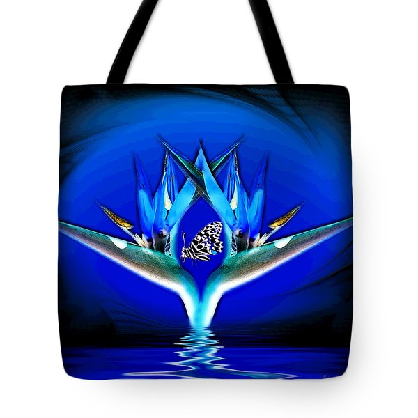 Blue Bird Of Paradise Tote Bag by Joyce Dickens