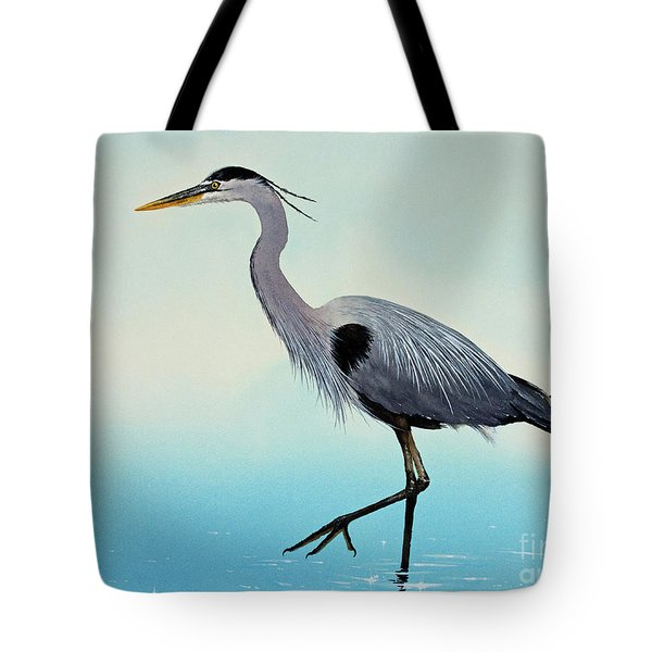 Tote Bag featuring the painting Blue Water Heron by James Williamson