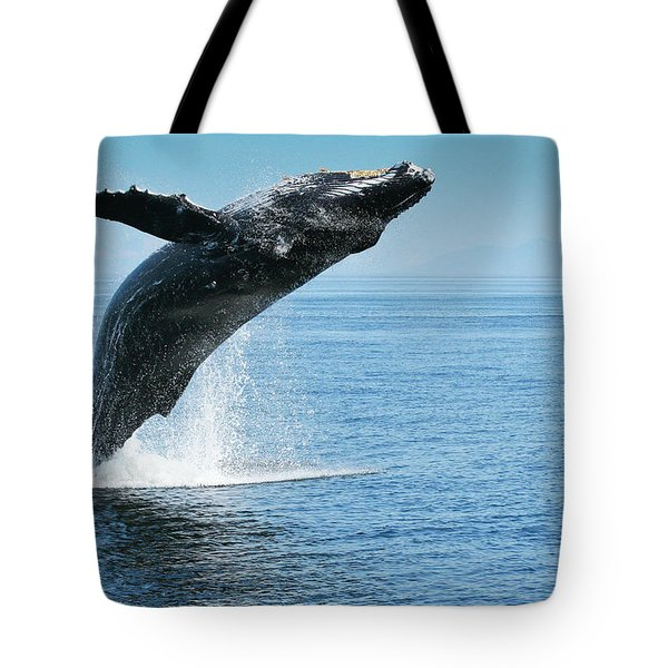 Breaching Humpback Whales Happy-1 Tote Bag