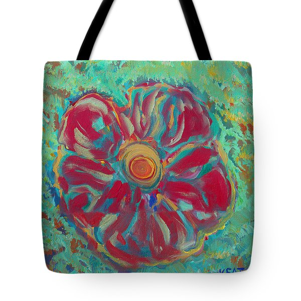 Tote Bag featuring the painting Bright Red by John Keaton