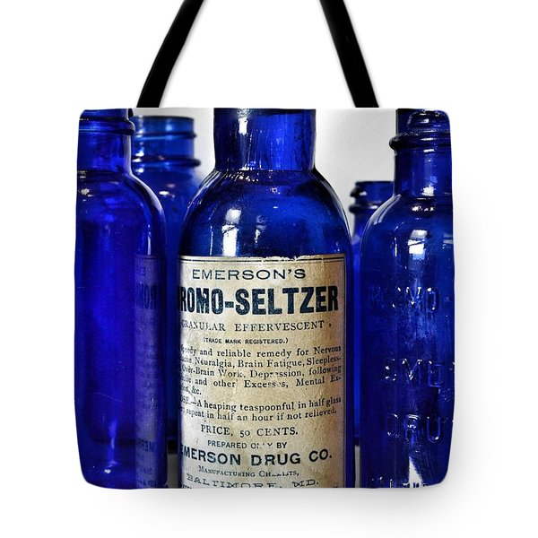 Bromo Seltzer Vintage Glass Bottles Collection Tote Bag