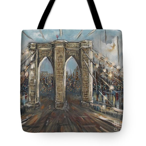 Tote Bag featuring the painting Brooklyn Bridge by Miroslaw  Chelchowski