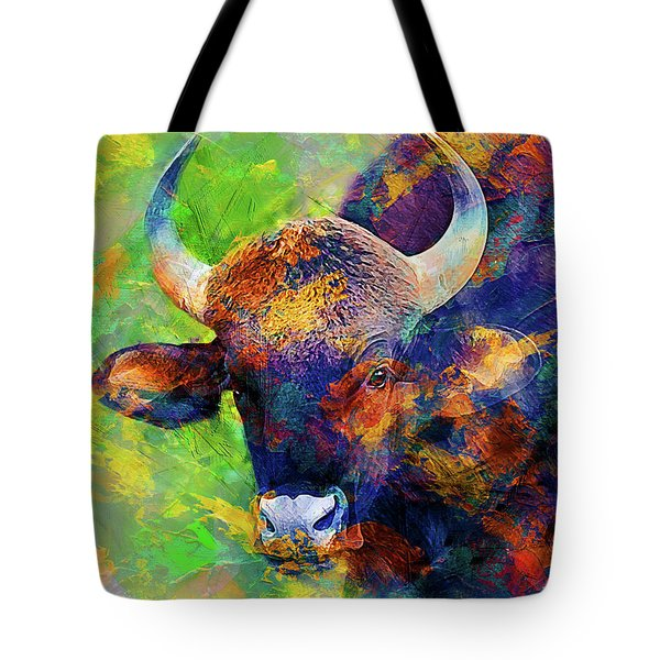 Bull Tote Bag by Elena Kosvincheva