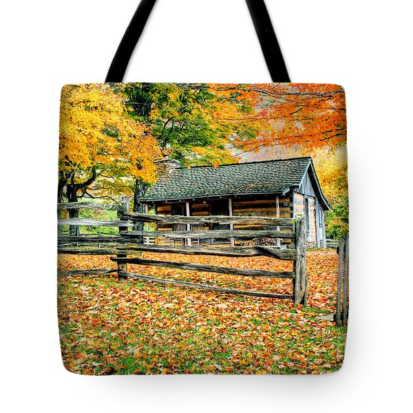 Cabin In The Woods Tote Bag by Darren Fisher