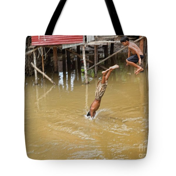 2 Cambodian Boys Dive Color Tote Bag