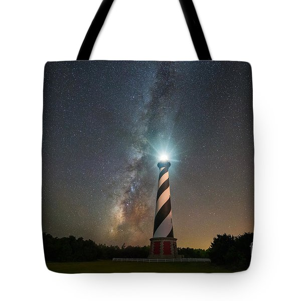 Cape Hatteras Lighthouse Milky Way Tote Bag by Michael Ver Sprill