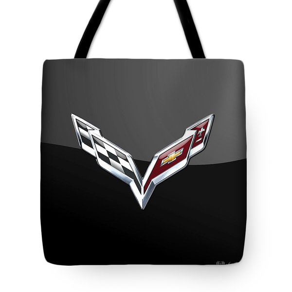 Chevrolet Corvette 3d Badge On Black Tote Bag