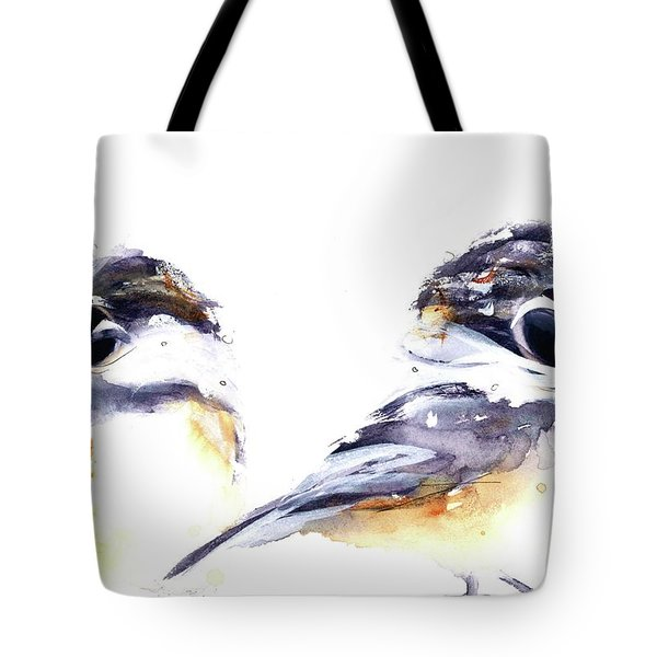 Tote Bag featuring the painting 2 Chickadees by Dawn Derman