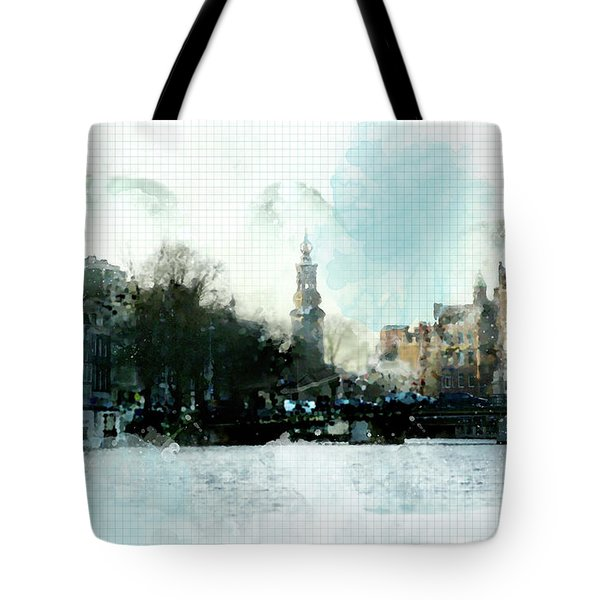City Life In Watercolor Style Tote Bag