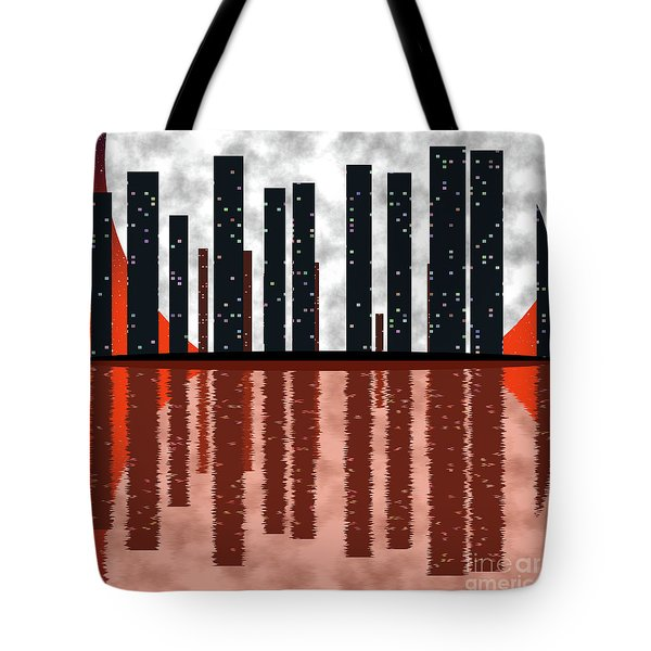 City Skyline At Full Moon Tote Bag by Michal Boubin