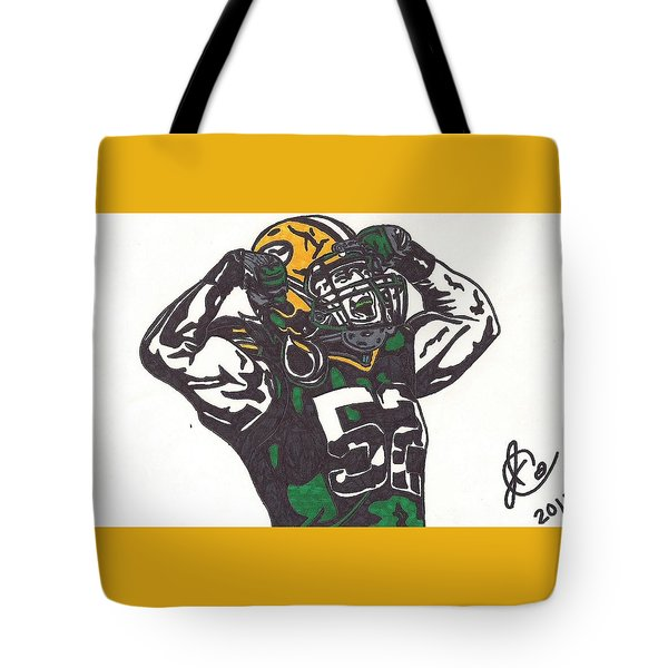 Tote Bag featuring the drawing Clay Matthews 2 by Jeremiah Colley