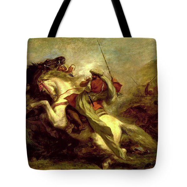Tote Bag featuring the painting Collision Of Moorish Horsemen by Eugene Delacroix