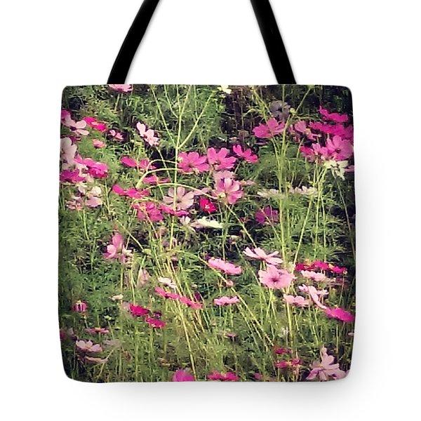 Cosmos Flowers  Tote Bag by Sobajan Tellfortunes