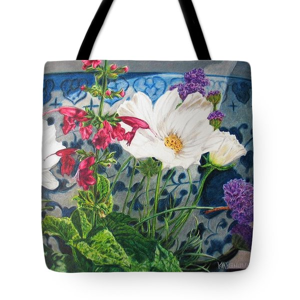 Tote Bag featuring the painting Cosmos by Karen Ilari